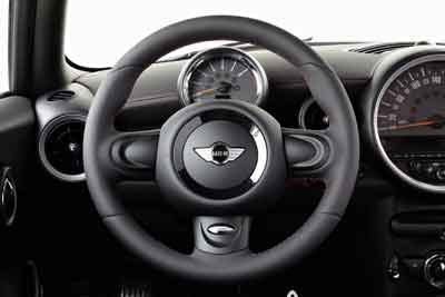 The John Cooper Works thick-rimmed leather steering wheel