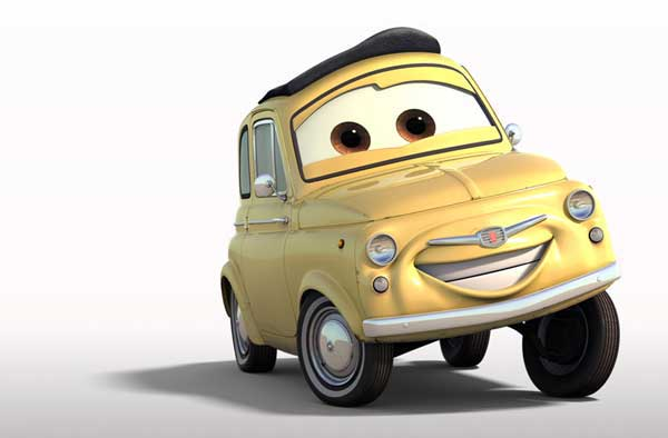 """""""Luigi"""" the Fiat 500 from the 2006 animated movie Cars"""