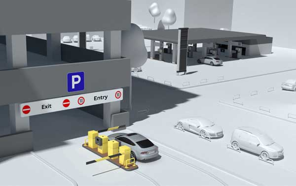 The 'Audi connect wireless payment' pilot project enables cars and car parks to communicate with each so  drivers can enter, exit and pay for parking without setting foot outside their cars.
