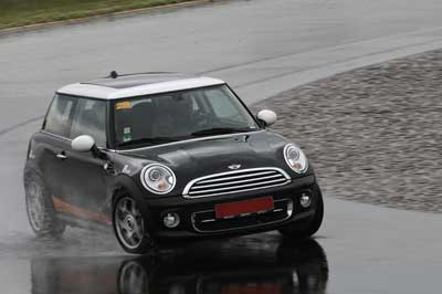 Mini Cooper fitted with a mix of budget and premium tyres