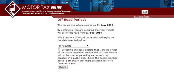 How to declare your car 'Off the Road'