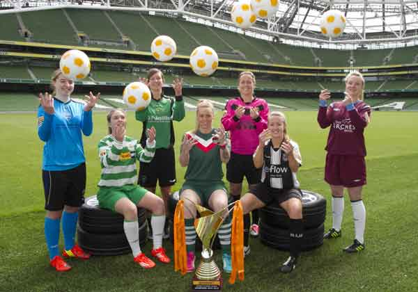 Representatives of the seven Continental Tyres Women's National League teams (l to r): Orlagh Nolan, UCD Waves, Emma Hanberry, Castlebar Celtic, Clare Kinsella, Peamount United, Trish Fennelly, Cork City, Kylie Murphy Wexford Youth AFC, Rebecca Creagh, Raheny United and Ruth Fahy, Galway United.