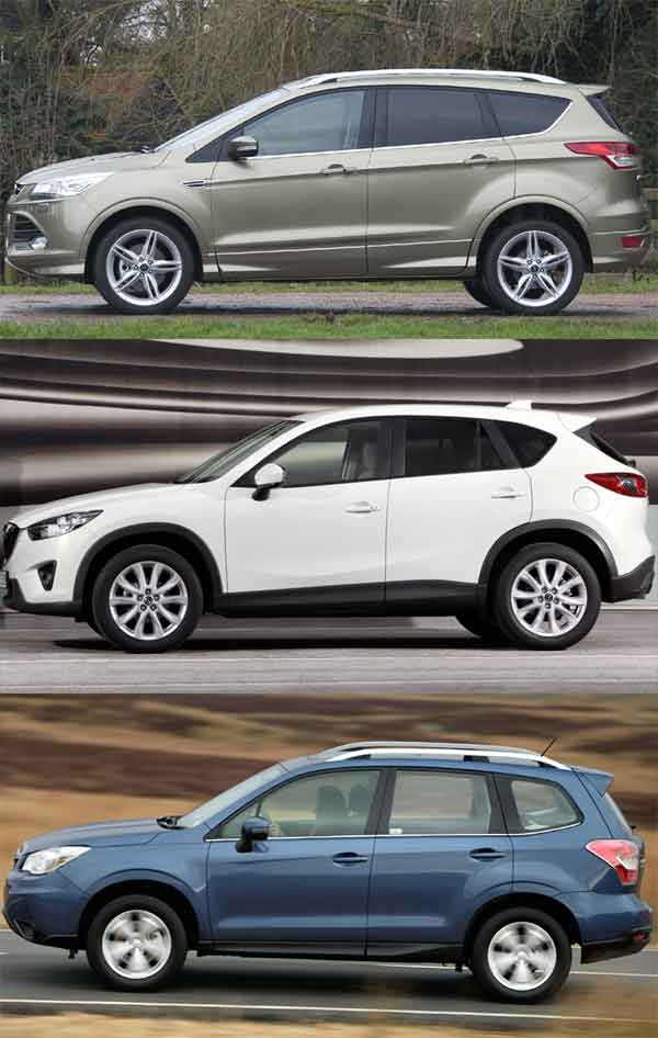 From the top: Ford Kuga, Mazda CX-5, Subaru Forester