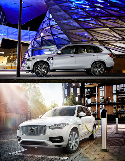 Top: BMW X5 xDrive40e Bottom: Volvo XC90 T8