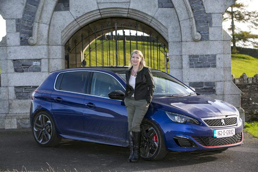 Geraldine Herbert with the Peugeot 308 GTi. Photo by Kyran O'Brien