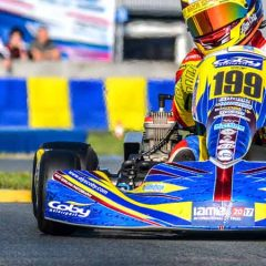 Alyx Coby competes at IAME International Finals in Le Mans.